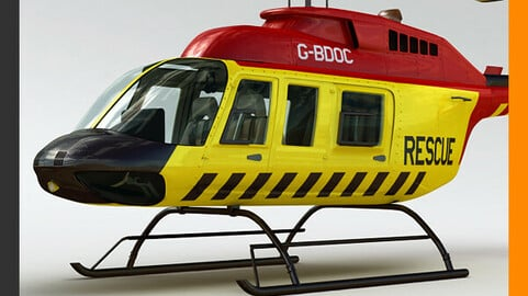 Helicopter Rescue Bell 206L with Interior