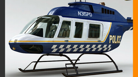 Helicopter Police Bell 206L with Interior