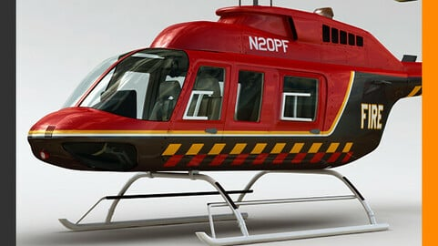 Helicopter Fire Bell 206L with Interior