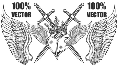 Vintage Prince Or King Crown With Heart, Wings And Swords Monochrome Isolated Vector Illustration. 100% Vector