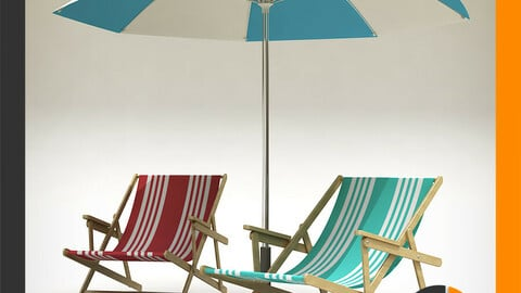 Beach Chair and Sun Umbrella