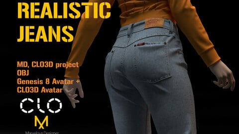 Realistic Jeans Daz Studio Genesis 8 Female Avatar and Clo3d Standart Female Avatar