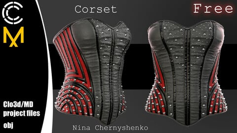 Corset. Marvelous Designer/Clo3d project + OBJ.