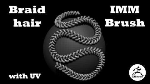 Braid hair IMM brush for zBrush