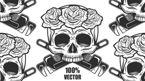 Vintage Skull With Rose And New Construction Crossed Wrenches Plumbing And Gas Pipes Monochrome Style 100% Vector Illustration