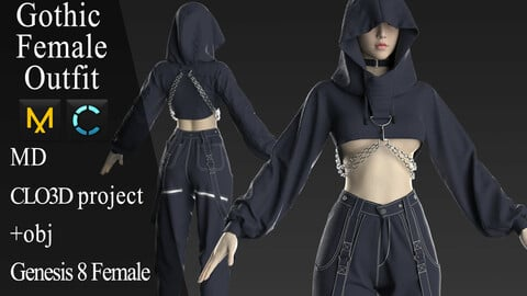 Gothic Female Outfit. Clo 3D / Marvelous Designer project +obj