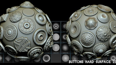 Buttons 35 Hard Surface Zbrush Alphas