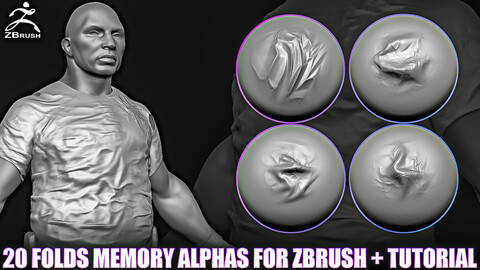 20 Folds Memory Alphas for ZBrush (2K, PNG)