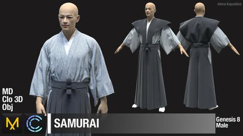 Samurai / Marvelous Designer / Clo 3D project + obj