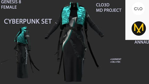 GENESIS 8 FEMALE: CYBERPUNK SET#3: CLO3D, MARVELOUS DESIGNER PROJECT+GARMENT| +OBJ +FBX