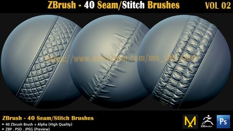 ZBrush - 40 Seam/Stitch Brushes (VOL 02)