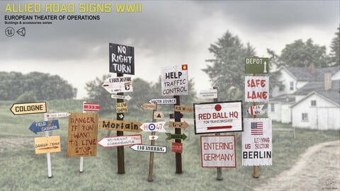 Allied road signs WWII (European theater of operations)