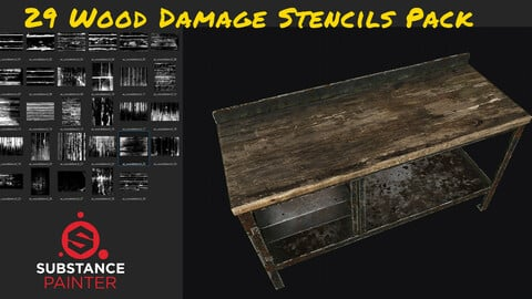 29 Wood Damage Stencils Pack
