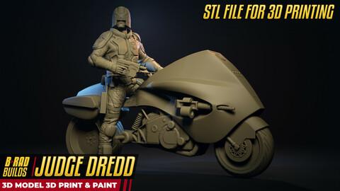 3D Printable DREDD (with Lawmaster) STL Model