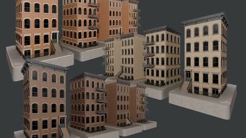 3 Modular City Apartment Buildings Game Ready