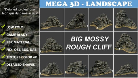 Low poly Big Mossy Rough Rock Cliff Collection 210323