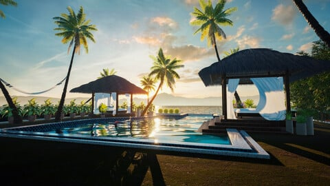 Exterior Beach Resort Scene - UE4 | FBX | OBJ