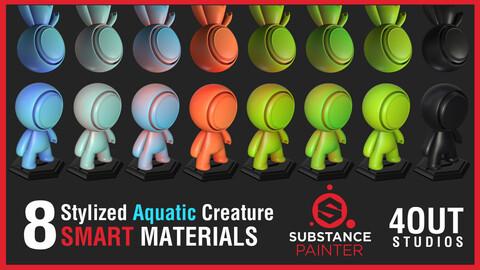 Stylized Aquatic Amphibian Creature Skin Smart Materials for Substance Painter