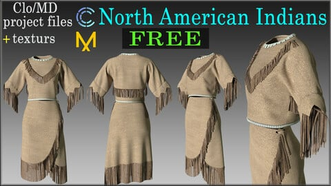 Dresses North American Indians / Marvelous Designer, Clo3d project