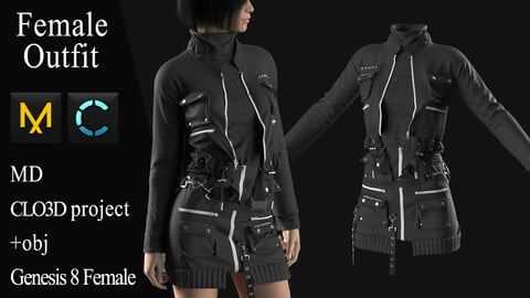 Female Modern Outfit №4. Clo 3D / Marvelous Designer project +obj
