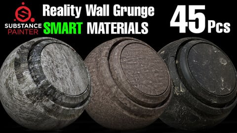 Reality Wall Grunge Smart Material for Substance Painter ( 45 Pcs  .Spsm )