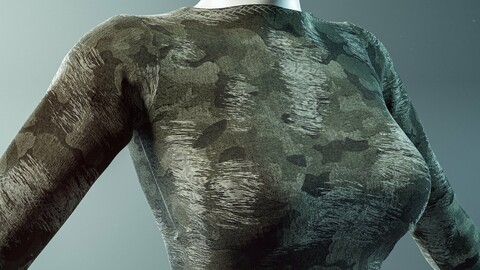 PBR - FABRIC RIPPED WAR CAMOUFLAGE CLOTH - 4K MATERIAL