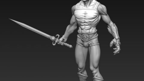 Lion-o Thundercats Figure with Sword of Omens and Claw Shield for 3d printing in resin