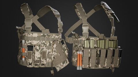 Game Ready Asset \ Military Vest - Full Pakc \ Rig \ Pouch \ Pistol pouch \ Knife \ Equipment