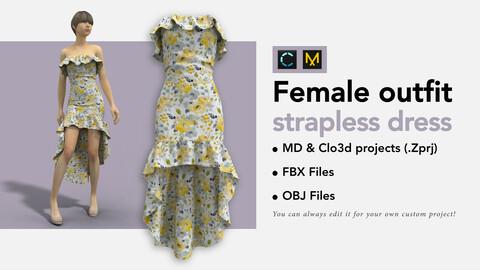 Floral strapless dress