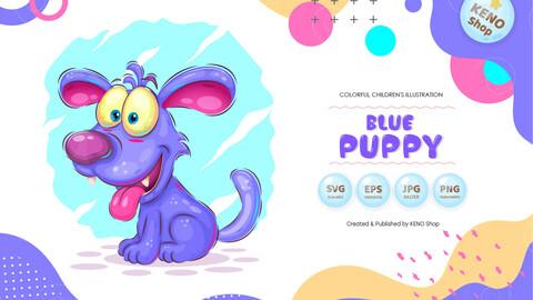 Blue cartoon puppy, dog