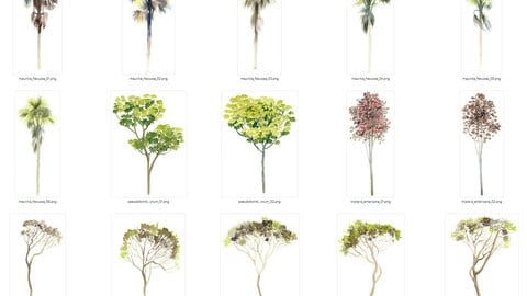 Watercolor Cutout Tree PACK 03