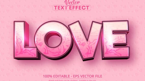 Love text, valentine's day style editable text effect