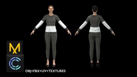 Woman Outfit for Game. Marvelous Designer/ Clo3d project + OBJ + FBX+UV+Textures