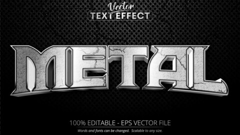 Metal text, shiny silver style editable text effect on black color textured background