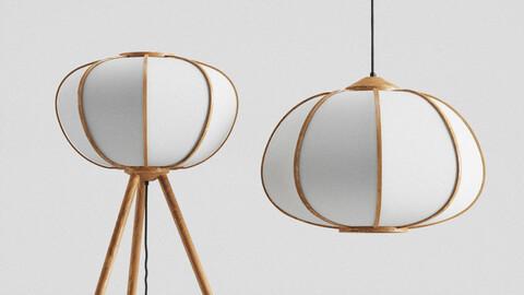H&M Bamboo pendant light and Floor Lamp set 3D model