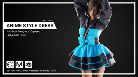 Anime Style Dress - Marvelous Designer, CLO Project