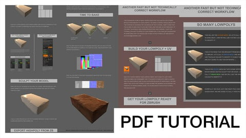 Workflow to bake details from ZBrush to lowpoly + alternative | Tutorial HQ PDF