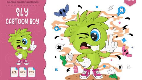 Sly cartoon boy