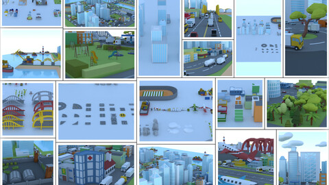 Low poly 3d Urban City Big Pack (-50% launch off 30$ instead of 60$)