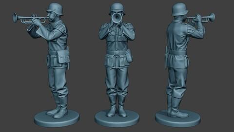 German musician soldier ww2 Stand trumpet G8