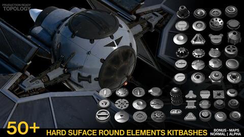 50+ Round Hard Surface  Kitbash elements [Production Topology]