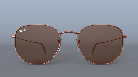 Sunglasses Ray-Ban Hexagonal Flat Lenses Bronze RB3548N 3D model