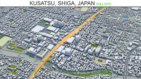 Kusatsu city Shiga  Japan 3d model 20km