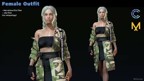 Female outfit - MD/CLO3D projects + obj
