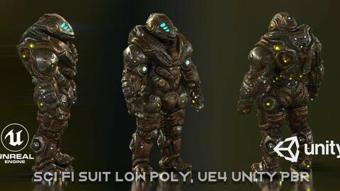 Sci Fi Suit low poly, UE4 Unity PBR
