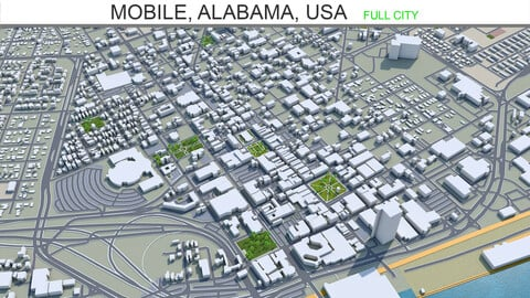 Mobile city Alabama USA  3d model 40km