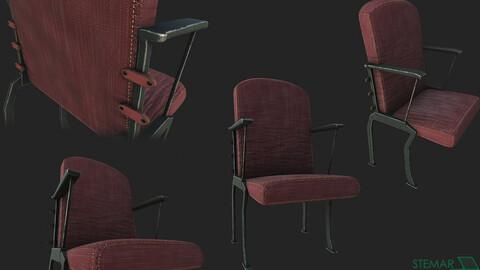 Theatre Chair 3D Asset HD Textures
