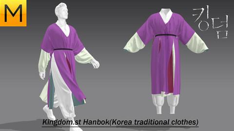 Kingdom style Hanbok -Marvelous designer + each obj files(4)