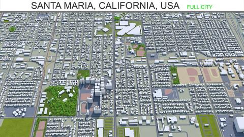 Santa Maria city California USA 3d model 20km