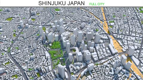 Shinjuku city Japan 3d model 20km